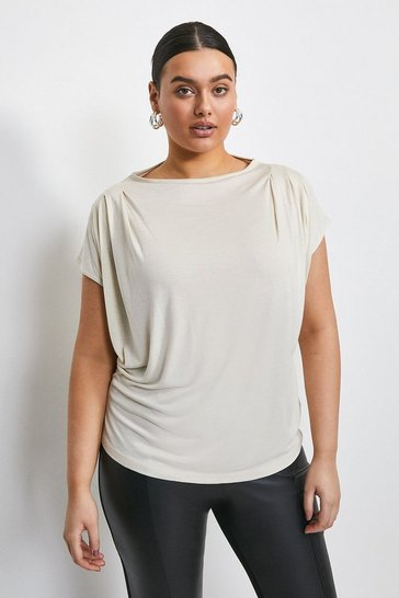 Mink Curve Viscose Jersey Cowl Neck Top