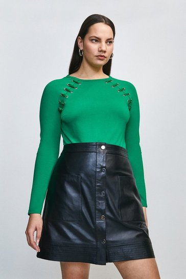 Bright green Curve Laced Eyelet Ponte Top