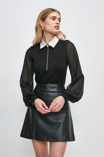 Black Contrast Collar Zip Ponte Top