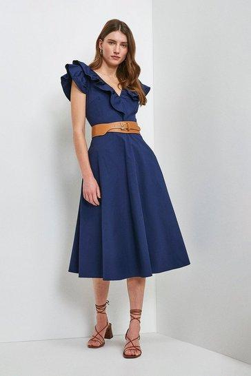Navy Cotton Poplin Ruffle Dress