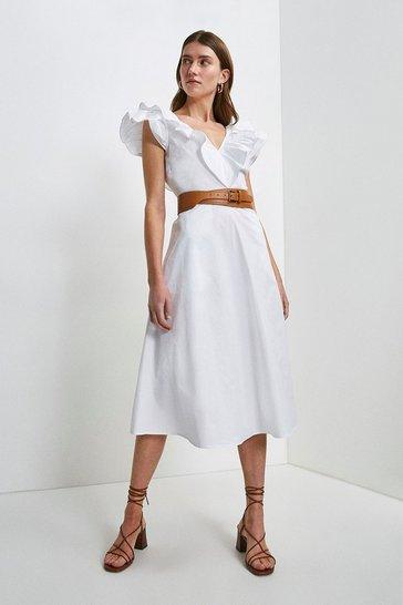 White Cotton Poplin Ruffle Dress