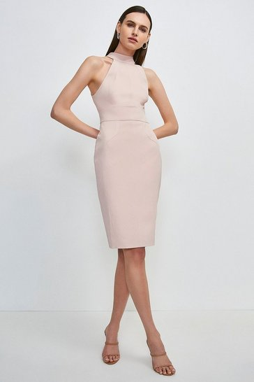Blush Italian Structured Rib Halter Neck Dress
