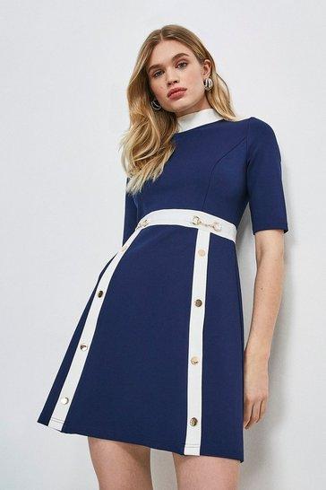 Navy Snaffle Trim Colour Block Ponte Dress