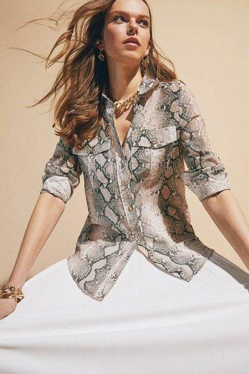 Silk Cotton Snake Long Sleeved Shirt