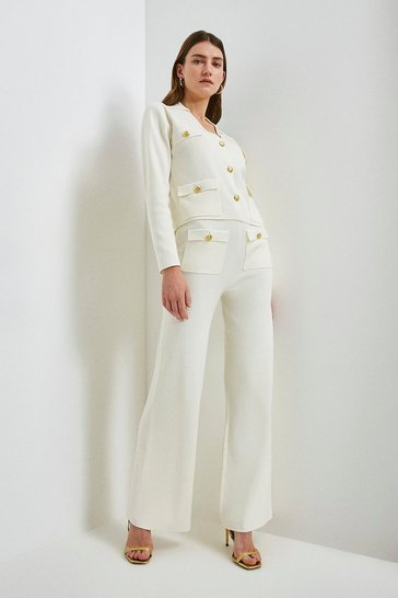 Cream Milano Knitted Military Trousers