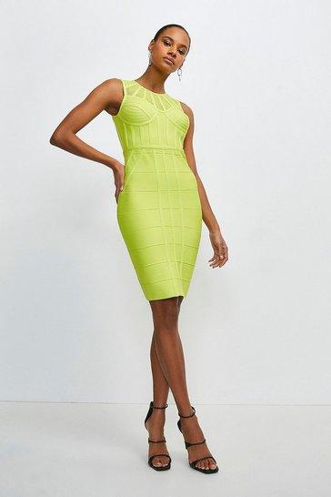 Lime Bandage Bodice Knit Dress