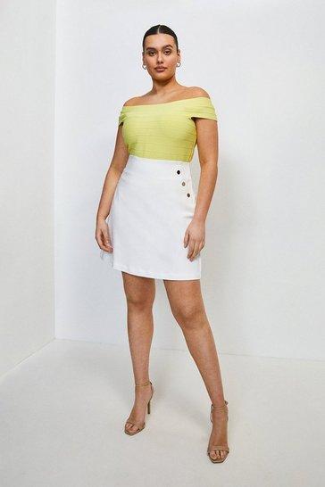 Ivory Curve Cotton Sateen Skirt