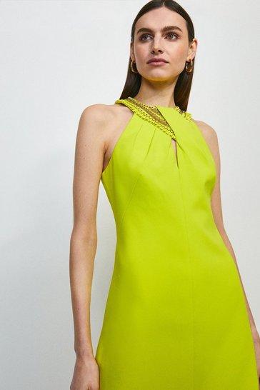 Lime Chain Embellishment Detail Halter Dress