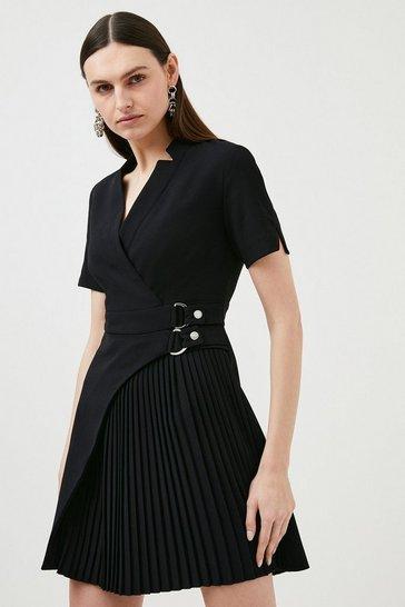 Black Military Pleat Notch Neck Wrap Dress