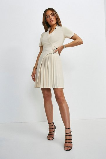Cream Military Pleat Notch Neck Wrap Dress