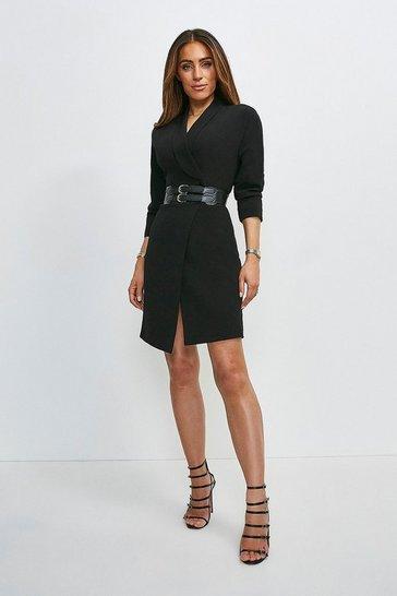 Black Viscose Satin Crepe Sleeved Belted Dress