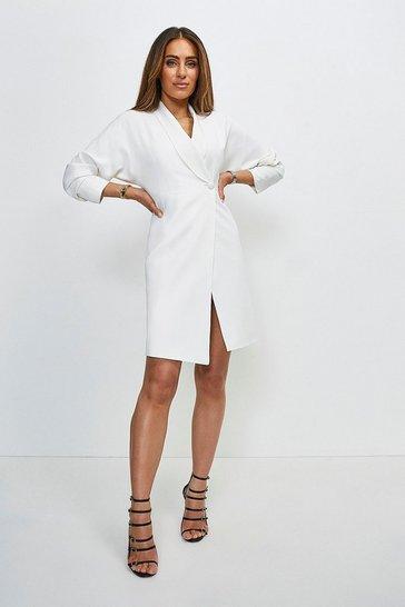 Ivory Viscose Satin Crepe Sleeved Belted Dress