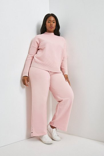 Blush Curve Lounge Joggers With Metal Trim