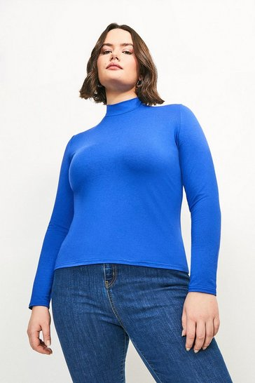 Cobalt Curve Viscose Jersey Funnel Neck Top