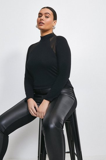 Black Curve Viscose Jersey And Mesh Insert Top