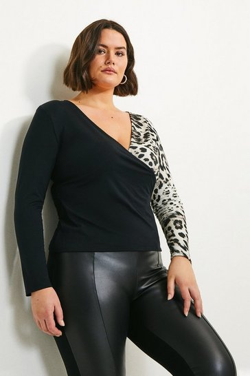 Black Curve Animal Blocked Jersey Wrap Top