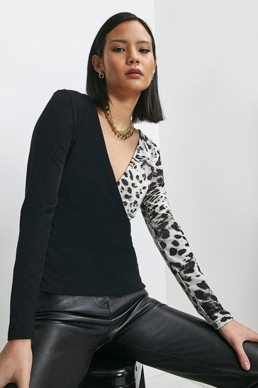Animal Blocked Jersey Wrap Top