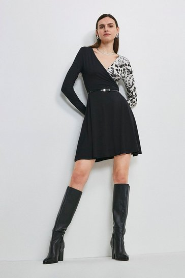 Black Animal Blocked Jersey Wrap Dress