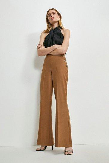 Camel Wool Blend High Waisted Wide Leg Trousers
