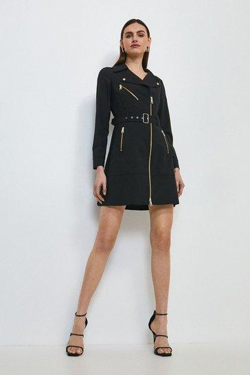 Black Polished Stretch Wool Blend Belted Biker Dress