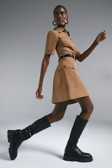Camel Polished Stretch Wool Utility A-line Skirt