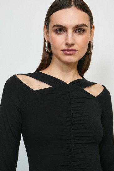 Black Rouched Front Viscose Jersey Top