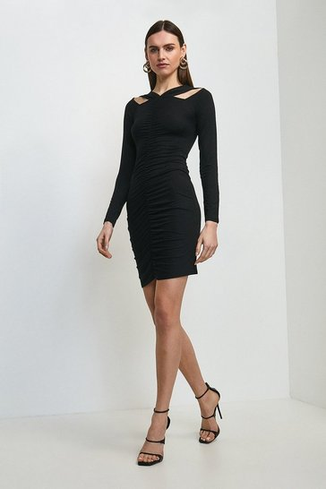 Black Rouched Front Viscose Jersey Dress