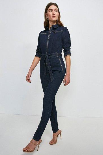 Indigo Zip Pocket Denim Jumpsuit