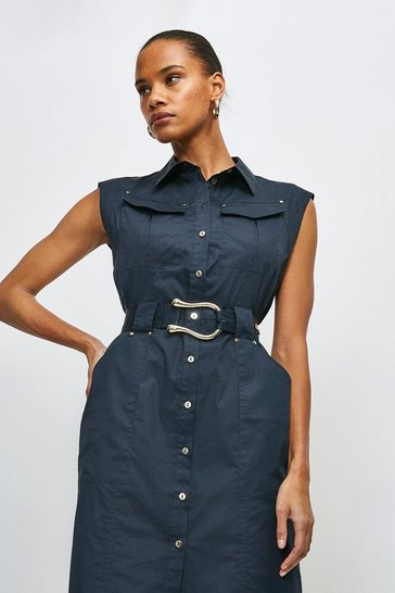 Navy Cotton Sateen Utility Short Dress