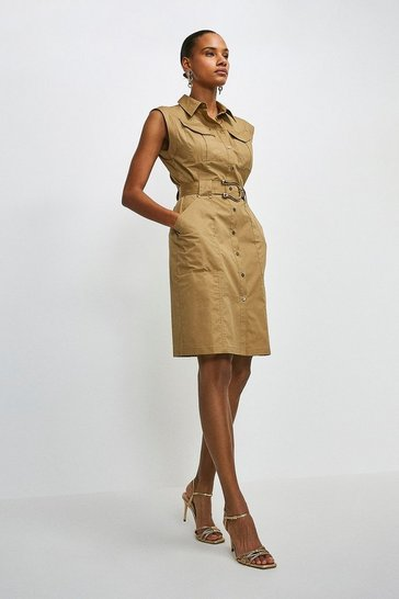 Stone Cotton Sateen Utility Short Dress