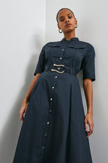 Navy Cotton Sateen Utility Shirt Dress