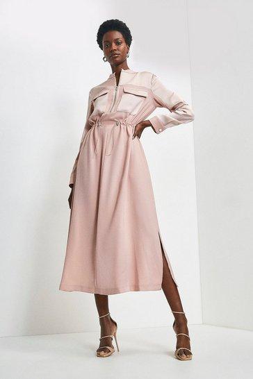 Blush Zip Front Utility Dress