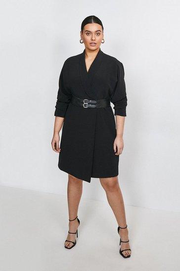Black Curve Viscose Satin Crepe Belted Dress