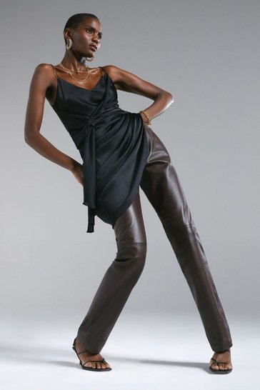 Chocolate Leather Five Pocket Straight Leg Jean