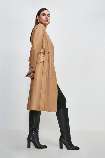 Camel Leather Investment Notch Neck Coat.