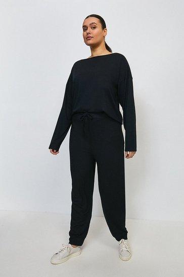 Black Curve Lounge Batwing Viscose Jersey Top
