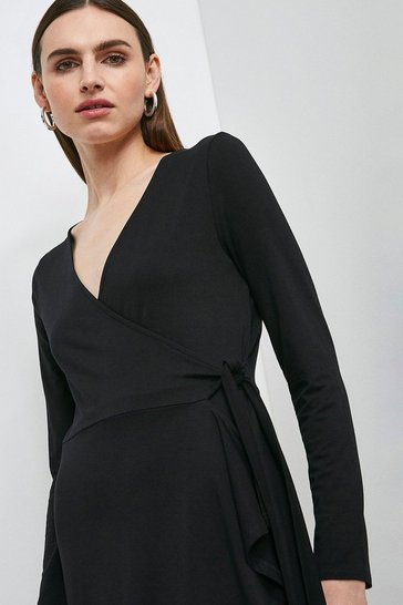 Black Long Sleeve Jersey Tie Wrap Dress