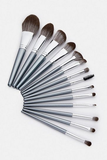 Grey Luxury Ultra Soft  14 Piece Brush Set