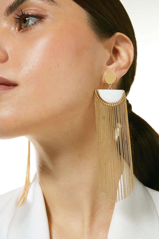 Karen Millen Tassel Drop Earrings -, Gold