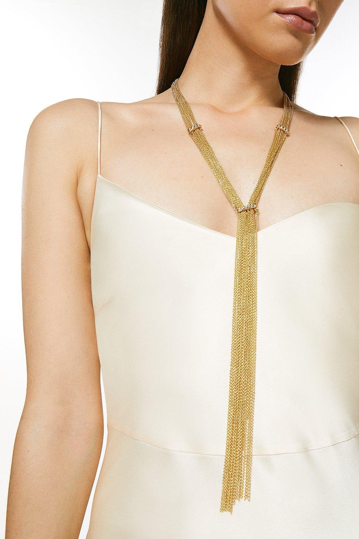 Karen Millen Plated Diamante Statement Necklace -, Gold