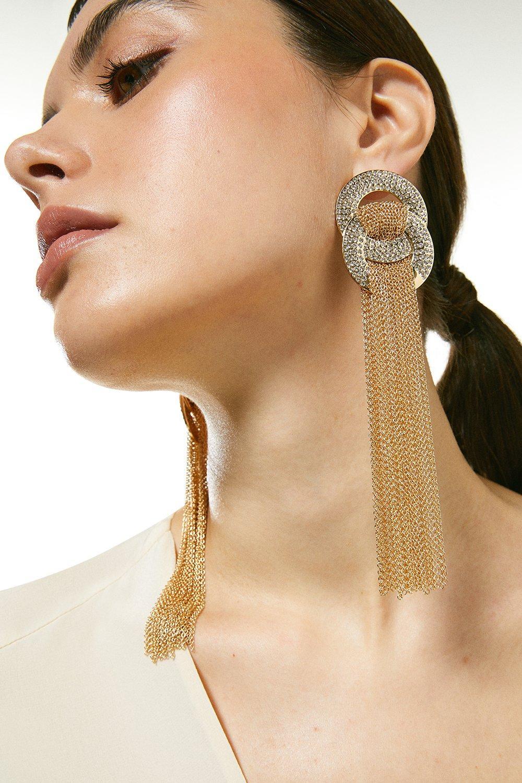 Karen Millen Glam Diamante Statement Tassel Earrings -, Gold