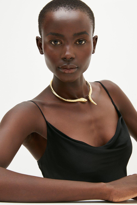 Karen Millen Plated Snake Necklace -, Gold