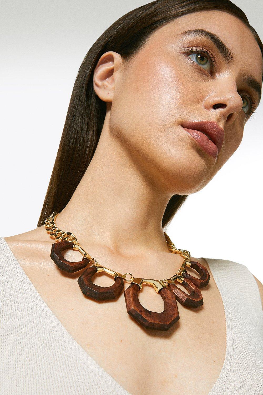 Karen Millen Plated Wooden Statement Necklace -, Gold