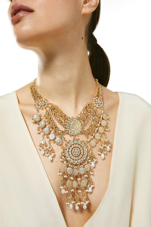 Karen Millen Pearl Mix Statement Necklace -, Gold