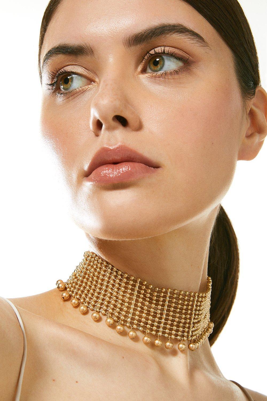 Karen Millen Beaded Choker Necklace -, Gold