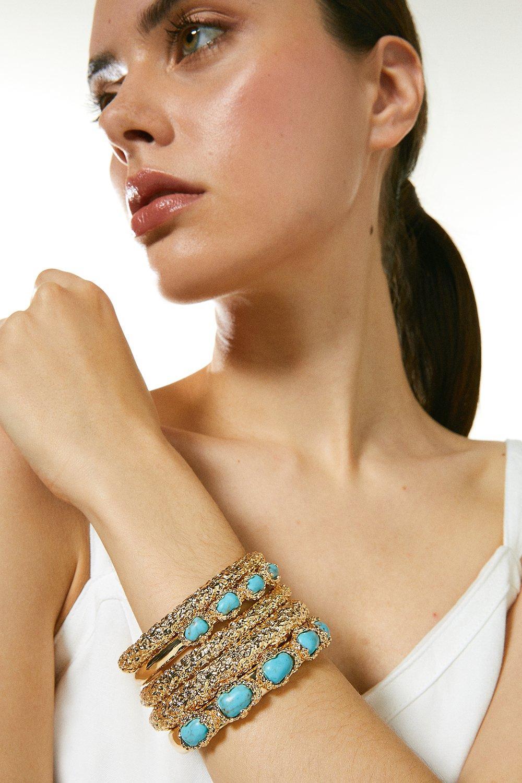 Karen Millen Quartz Stone Stacking Bangles -, Turquoise