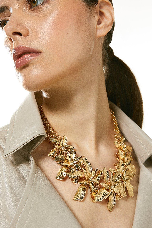 Karen Millen Plated Statement Flower Necklace -, Gold