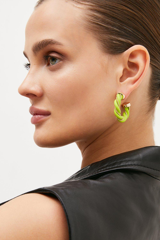 Karen Millen Twist Detail Hoop Earrings -, Green