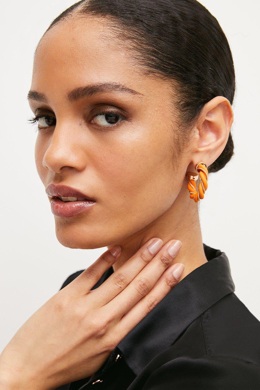 Karen Millen Twist Detail Hoop Earrings -, Orange