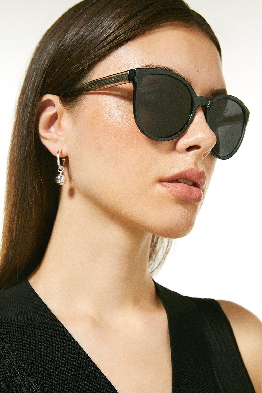 Karen Millen Deep Round Sunglasses With Exposed Core Wire -, Grey